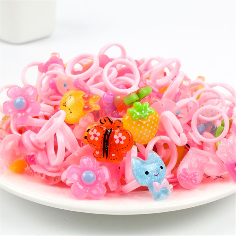 10pcs/lot Children's Cartoon Rings Candy Flower Animal Bow Shape Ring Set Mix Finger Jewellery Rings Kid Girls Toys Beauty & Fashion Toys  2