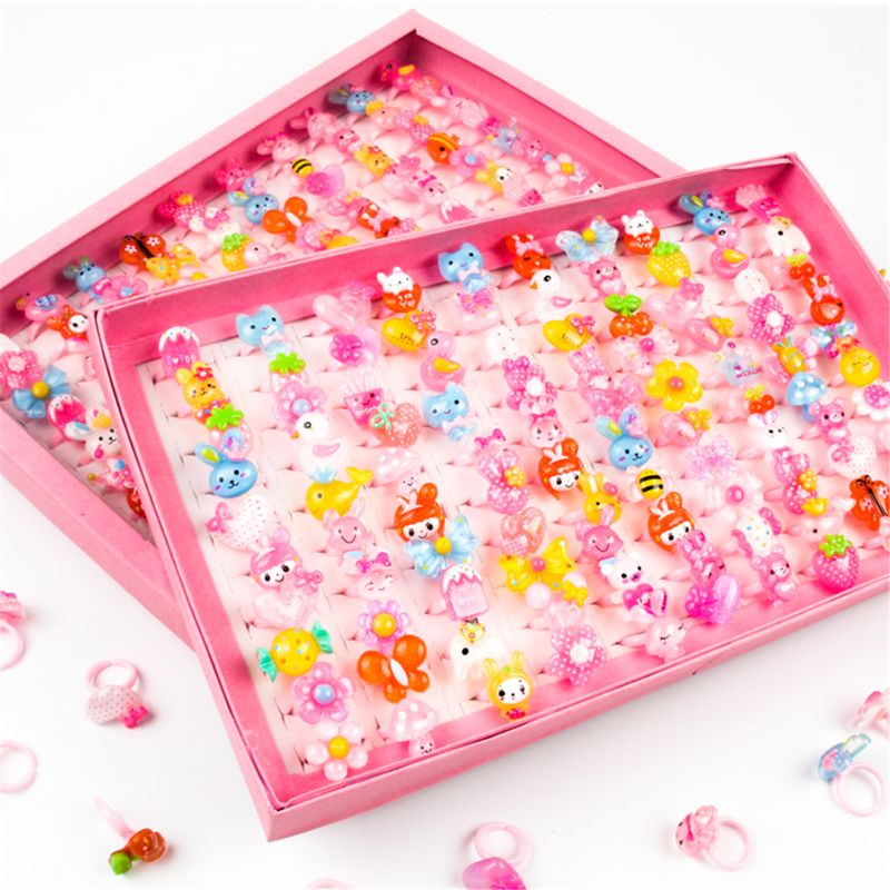 10pcs/lot Children's Cartoon Rings Candy Flower Animal Bow Shape Ring Set Mix Finger Jewellery Rings Kid Girls Toys Beauty & Fashion Toys  4
