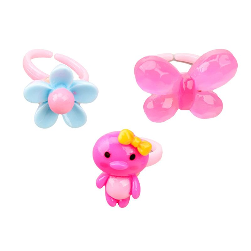 10pcs/lot Children's Cartoon Rings Candy Flower Animal Bow Shape Ring Set Mix Finger Jewellery Rings Kid Girls Toys Beauty & Fashion Toys  5