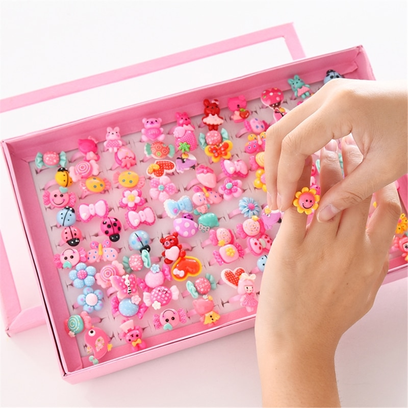 10pcs/lot Children's Cartoon Rings Candy Flower Animal Bow Shape Ring Set Mix Finger Jewellery Rings Kid Girls Toys Beauty & Fashion Toys  1