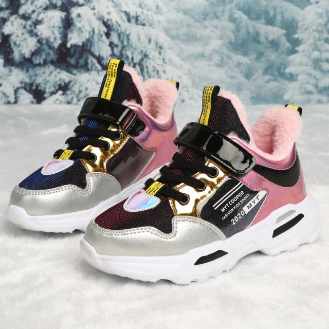 2020 New Arrival Spring Autumn Shiny Upper Children Shoes Girls Fashion Kids Sneakers Casual Toddler Sports Shoes Summer Tenis Sneakers  – fur sliver 10