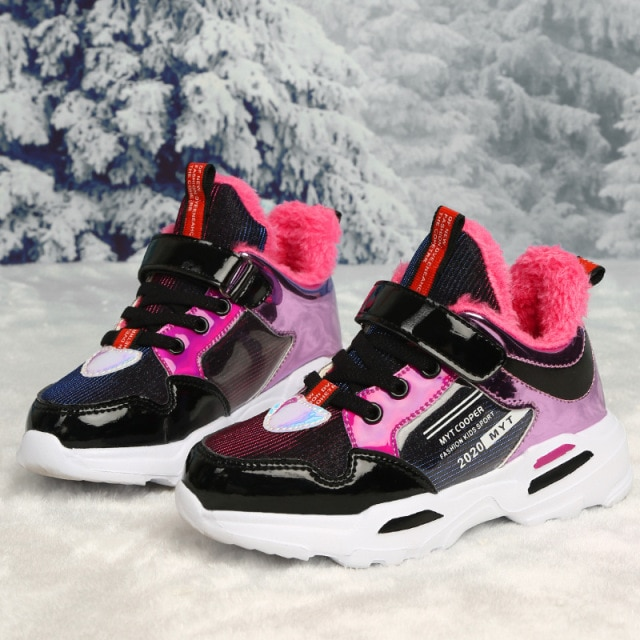 2020 New Arrival Spring Autumn Shiny Upper Children Shoes Girls Fashion Kids Sneakers Casual Toddler Sports Shoes Summer Tenis Sneakers  – fur rose red 7