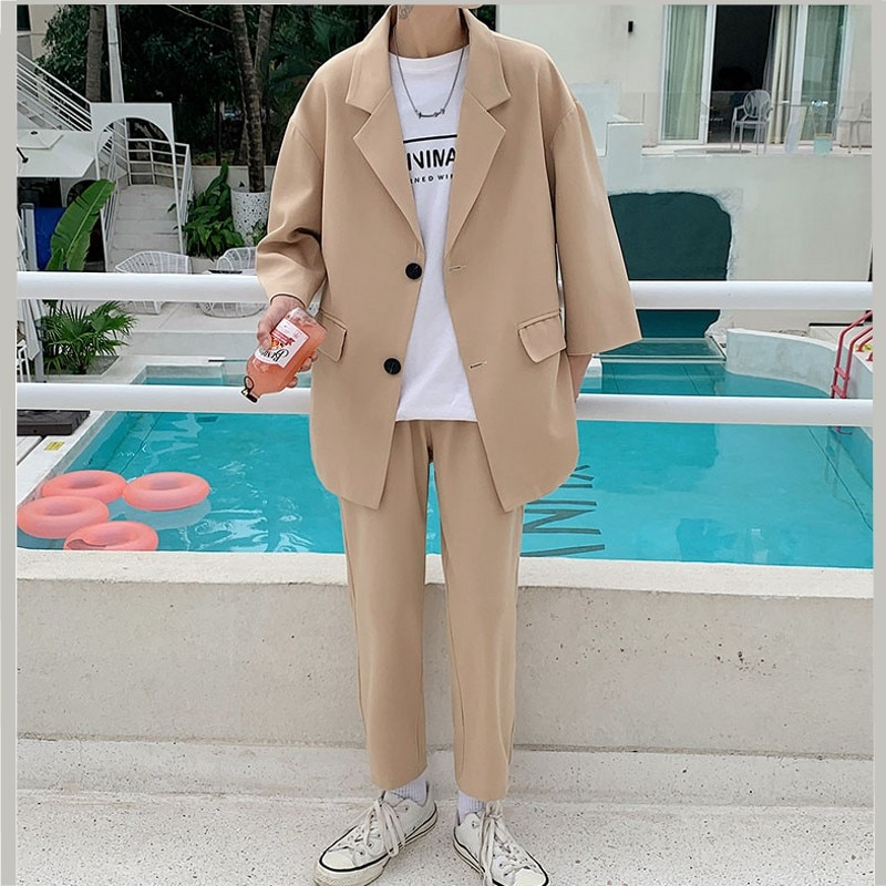 2021 Fashion Men's Suit Three quarter Sleeves Jacket Ankle length Pant Black Khaki Baggy Casual Streetwear Summer Clothing Sets Suits  2