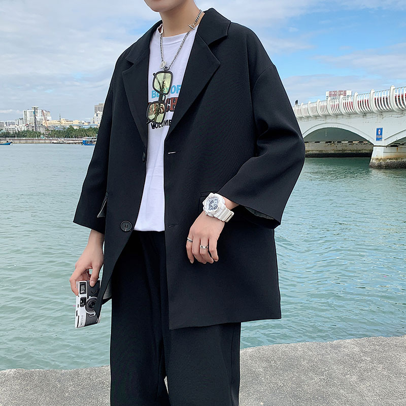 2021 Fashion Men's Suit Three quarter Sleeves Jacket Ankle length Pant Black Khaki Baggy Casual Streetwear Summer Clothing Sets Suits  4