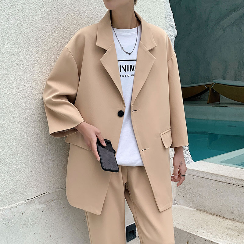 2021 Fashion Men's Suit Three quarter Sleeves Jacket Ankle length Pant Black Khaki Baggy Casual Streetwear Summer Clothing Sets Suits  1