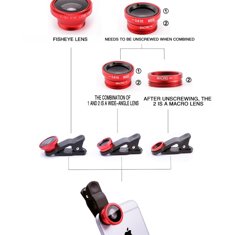 3in1 Fisheye Phone Lens 0.67x Wide Angle Zoom Lens Fish Eye Macro Lenses Camera Kits With Clip Lens On The Phone For Smartphone|Mobile Phone Lens| 2