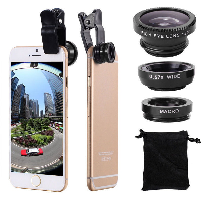 3in1 Fisheye Phone Lens 0.67x Wide Angle Zoom Lens Fish Eye Macro Lenses Camera Kits With Clip Lens On The Phone For Smartphone|Mobile Phone Lens| 1