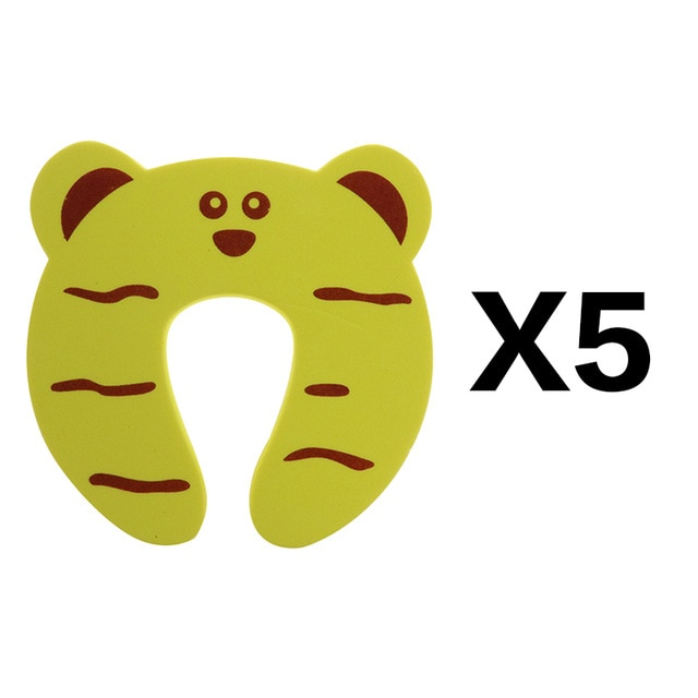 5Pcs/Lot Protection Baby Safety Cute Animal Security Door Stopper Baby Card Lock Newborn Care Child Finger Protector|baby safety|baby lockbaby door lock – yellow 5pcs 17