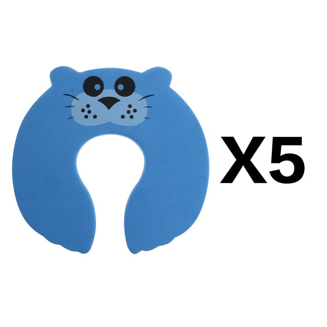 5Pcs/Lot Protection Baby Safety Cute Animal Security Door Stopper Baby Card Lock Newborn Care Child Finger Protector|baby safety|baby lockbaby door lock – blue 5pcs 18