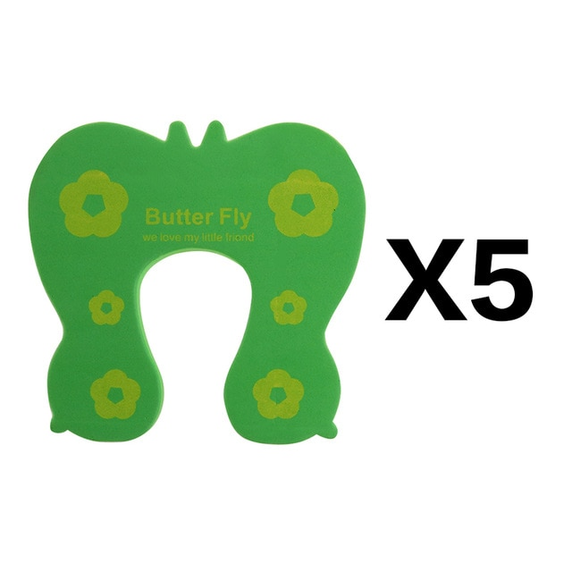5Pcs/Lot Protection Baby Safety Cute Animal Security Door Stopper Baby Card Lock Newborn Care Child Finger Protector|baby safety|baby lockbaby door lock – green 5pcs 20