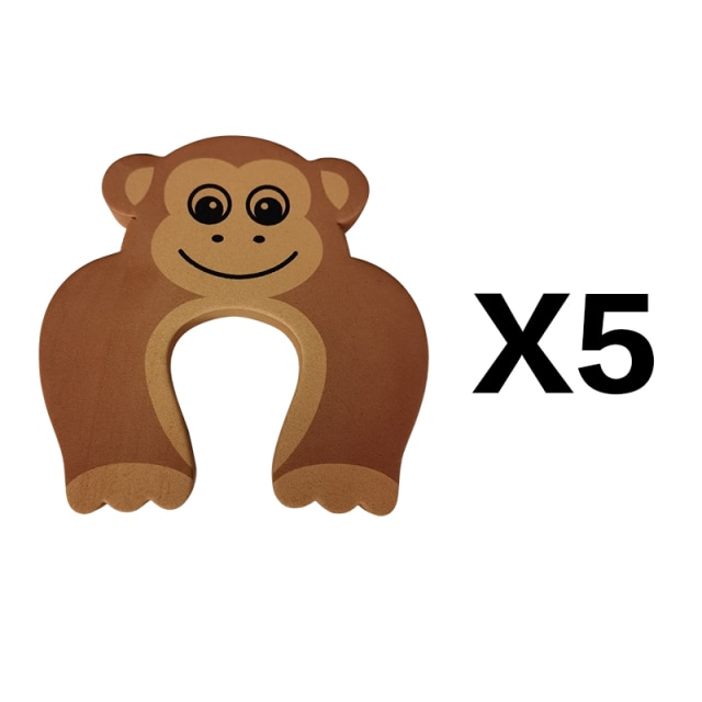 5Pcs/Lot Protection Baby Safety Cute Animal Security Door Stopper Baby Card Lock Newborn Care Child Finger Protector|baby safety|baby lockbaby door lock – brown 5pcs 14