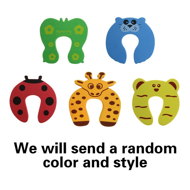 5Pcs/Lot Protection Baby Safety Cute Animal Security Door Stopper Baby Card Lock Newborn Care Child Finger Protector|baby safety|baby lockbaby door lock – 5pcs 7