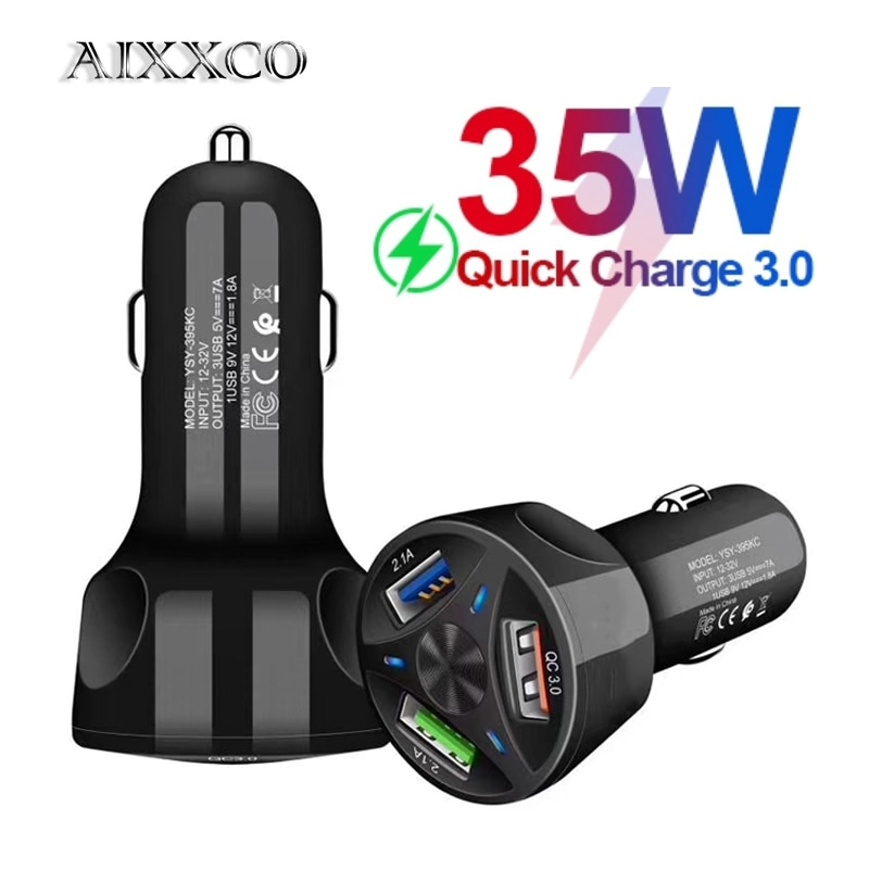 AIXXCO 3 Ports USB Car Charger Quick Charge 3.0 Fast Car Cigarette Lighter For Samsung Huawei Xiaomi iphone Car Charger QC 3.0|Car Chargers| 4