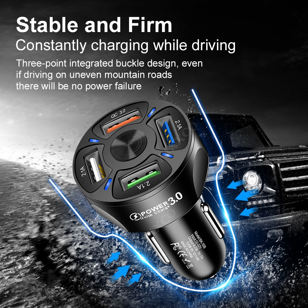 AIXXCO 3 Ports USB Car Charger Quick Charge 3.0 Fast Car Cigarette Lighter For Samsung Huawei Xiaomi iphone Car Charger QC 3.0|Car Chargers| 6