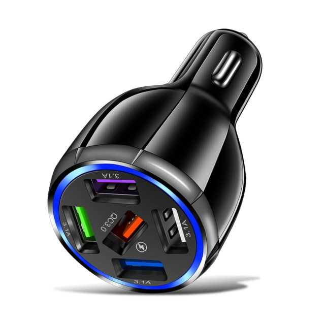 AIXXCO 3 Ports USB Car Charger Quick Charge 3.0 Fast Car Cigarette Lighter For Samsung Huawei Xiaomi iphone Car Charger QC 3.0|Car Chargers| – Black 7