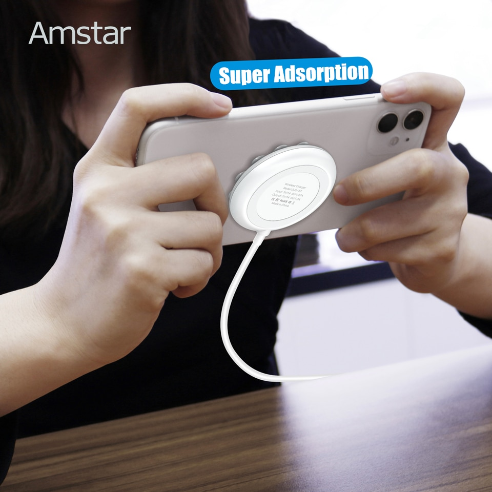 Amstar Suction Cup Qi Wireless Charger for iPhone 12 11 Pro Max XS XR 10W Fast Wireless Charging Pad for Samsung S21 S20 Note 20 Wireless Chargers  5
