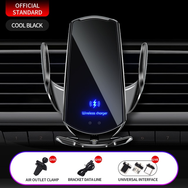 Automatic 15W Qi Car Wireless Charger for iPhone 12 11 XS XR X 8 Samsung S21 S20 Magnetic USB Infrared Sensor Phone Holder Mount|Wireless Chargers| – Black 8