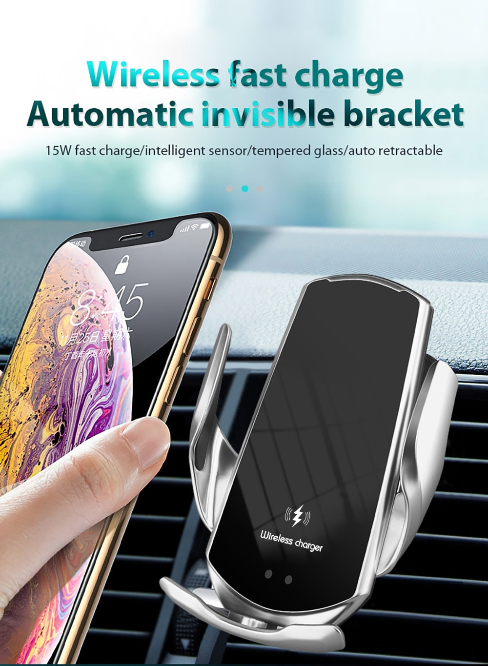 Automatic 15W Qi Car Wireless Charger for iPhone 12 11 XS XR X 8 Samsung S21 S20 Magnetic USB Infrared Sensor Phone Holder Mount|Wireless Chargers| 3