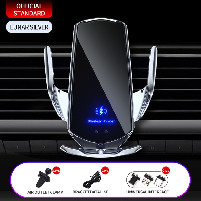Automatic 15W Qi Car Wireless Charger for iPhone 12 11 XS XR X 8 Samsung S21 S20 Magnetic USB Infrared Sensor Phone Holder Mount|Wireless Chargers| – Silver 9