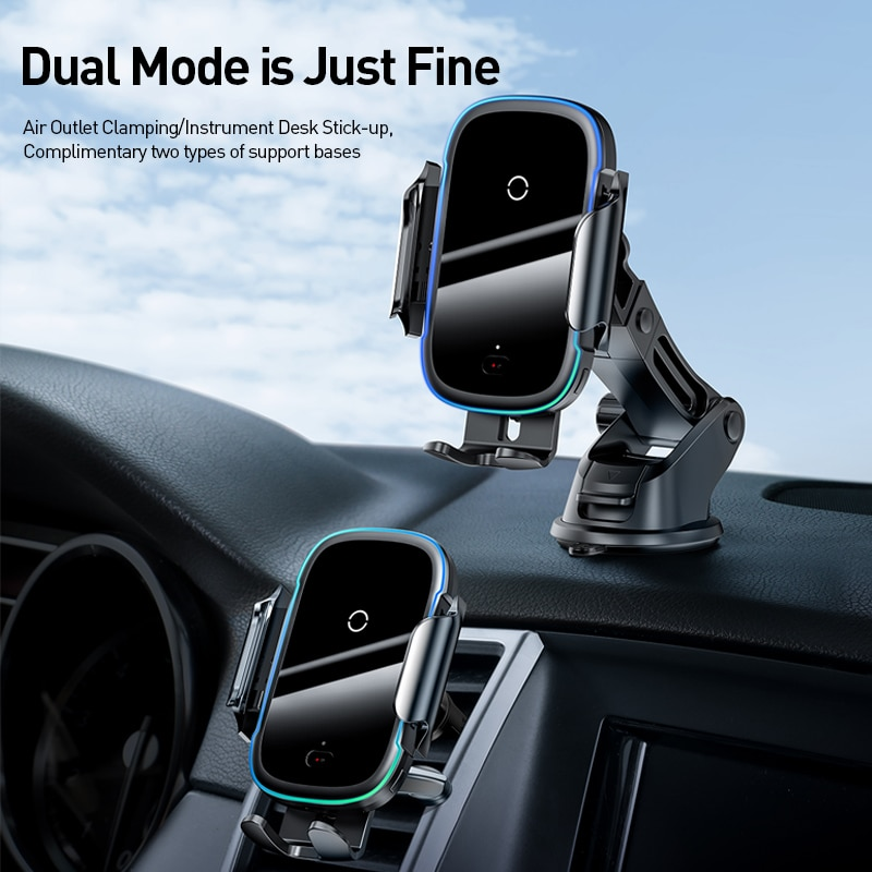 Baseus Qi Car Wireless Charger for iPhone 11 Samsung Xiaomi 15W Induction Car Mount Fast Wireless Charging with Car Phone Holder|Wireless Chargers| 2