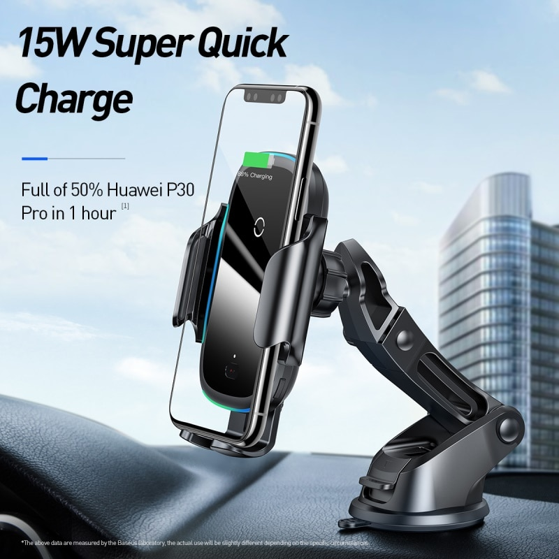 Baseus Qi Car Wireless Charger for iPhone 11 Samsung Xiaomi 15W Induction Car Mount Fast Wireless Charging with Car Phone Holder|Wireless Chargers| 3