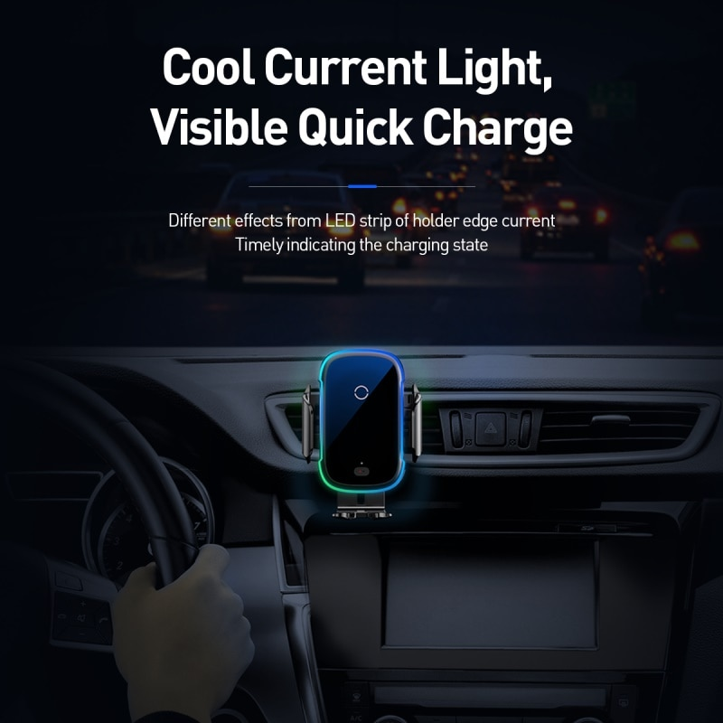 Baseus Qi Car Wireless Charger for iPhone 11 Samsung Xiaomi 15W Induction Car Mount Fast Wireless Charging with Car Phone Holder|Wireless Chargers| 5