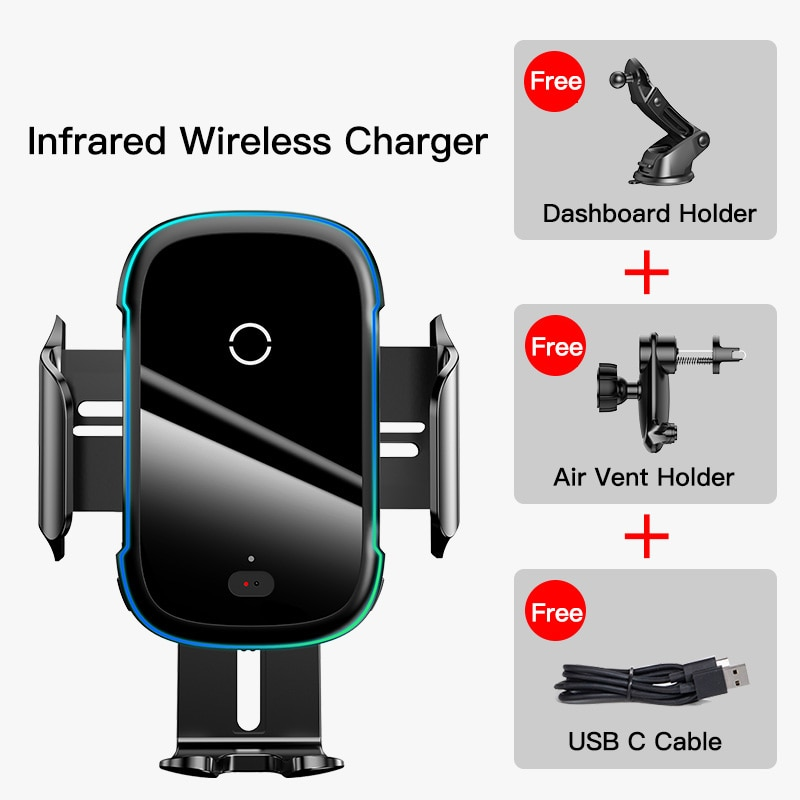Baseus Qi Car Wireless Charger for iPhone 11 Samsung Xiaomi 15W Induction Car Mount Fast Wireless Charging with Car Phone Holder|Wireless Chargers| 6