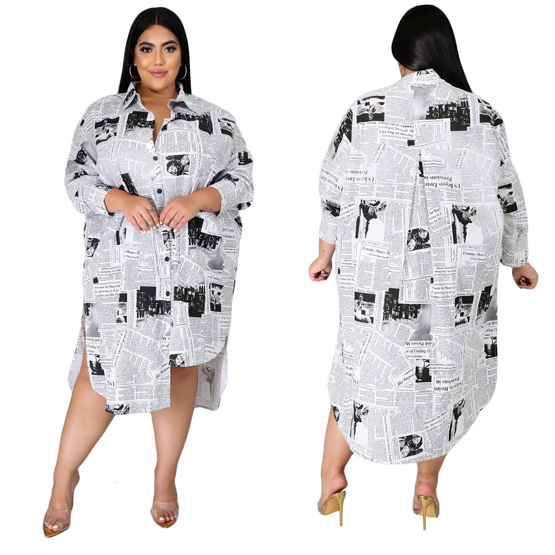 Coolhappy 2021 Plus SizeSpring Casual Newspaper Printed White Loose Shirt Blouse Women Clothes Long Sleeve Vintage Party Dress Dresses  2