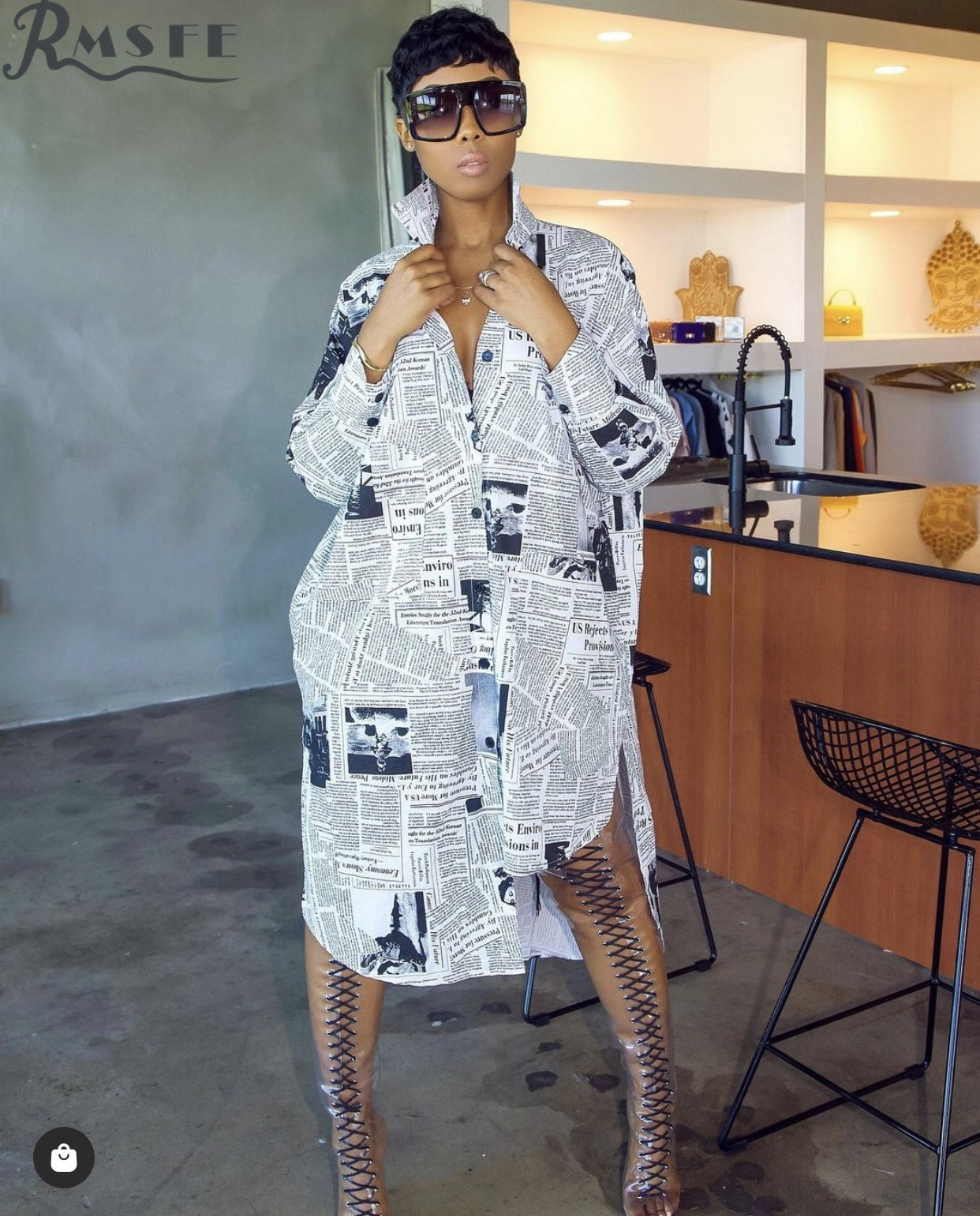 Coolhappy 2021 Plus SizeSpring Casual Newspaper Printed White Loose Shirt Blouse Women Clothes Long Sleeve Vintage Party Dress Dresses  3