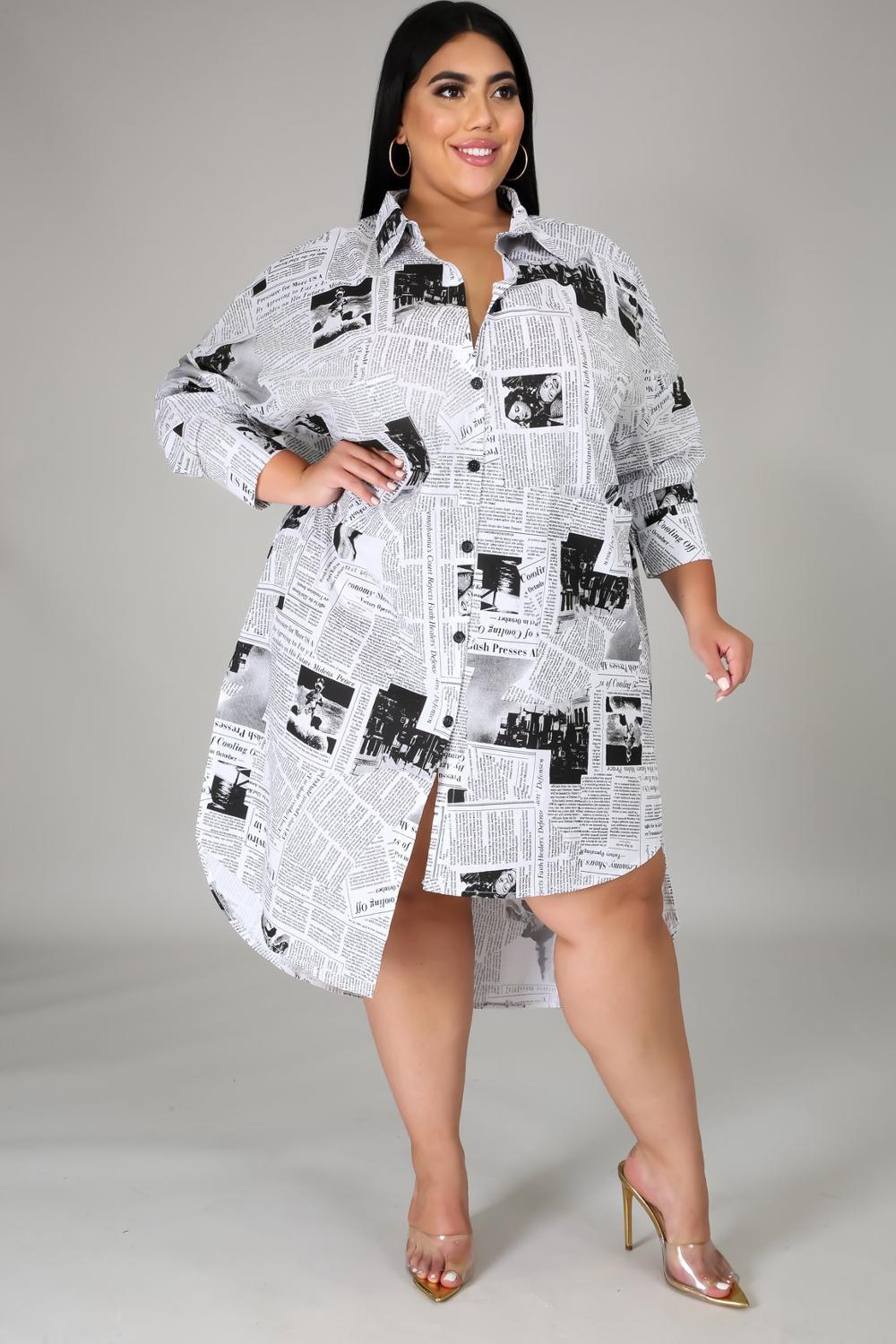 Coolhappy 2021 Plus SizeSpring Casual Newspaper Printed White Loose Shirt Blouse Women Clothes Long Sleeve Vintage Party Dress Dresses  4