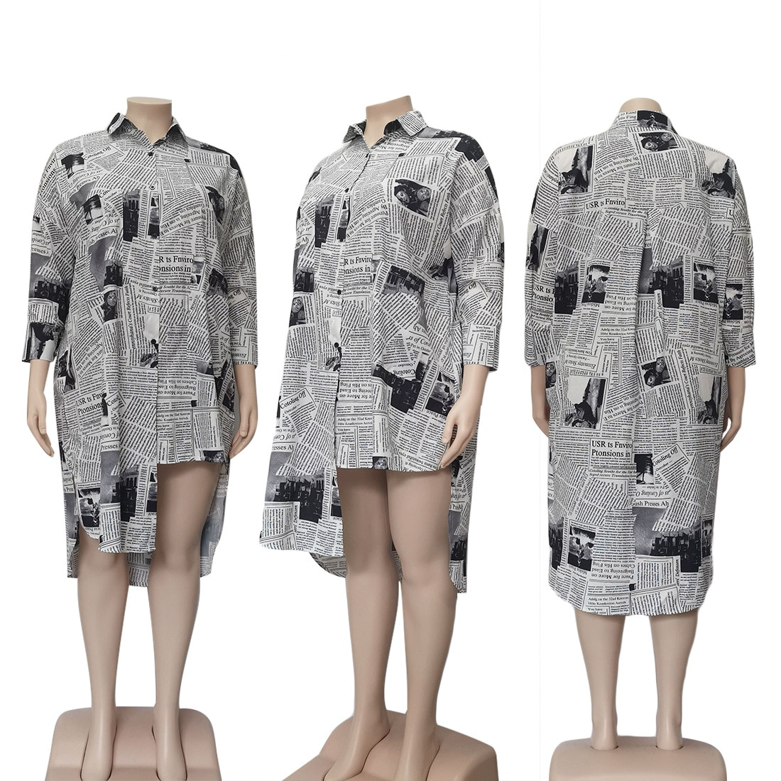 Coolhappy 2021 Plus SizeSpring Casual Newspaper Printed White Loose Shirt Blouse Women Clothes Long Sleeve Vintage Party Dress Dresses  6