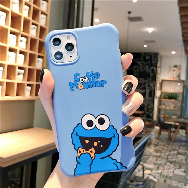Cute cartoon Sesame Street Cookie Elmo phone case for iphone 12 11 Pro X XS Max XR 7 8 6 6S Plus relief soft candy back cover Phone Case & Covers  – blue 8