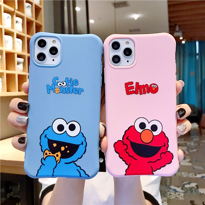 Cute cartoon Sesame Street Cookie Elmo phone case for iphone 12 11 Pro X XS Max XR 7 8 6 6S Plus relief soft candy back cover Phone Case & Covers  1