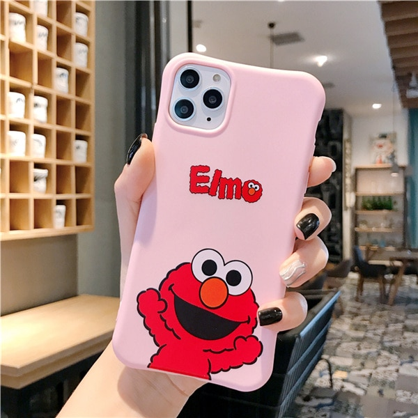 Cute cartoon Sesame Street Cookie Elmo phone case for iphone 12 11 Pro X XS Max XR 7 8 6 6S Plus relief soft candy back cover Phone Case & Covers  – pink 7