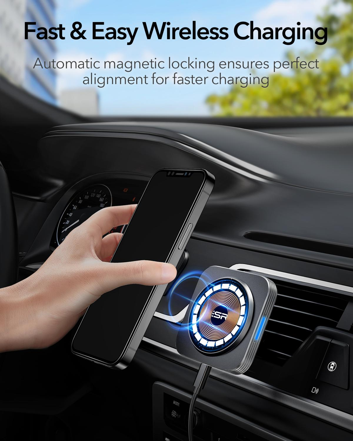 ESR HaloLock Magnetic Wireless Car Charger Mount for iPhone 12 Pro Max Fast Charging Wireless Charger Car Phone Holder Wireless Chargers  4