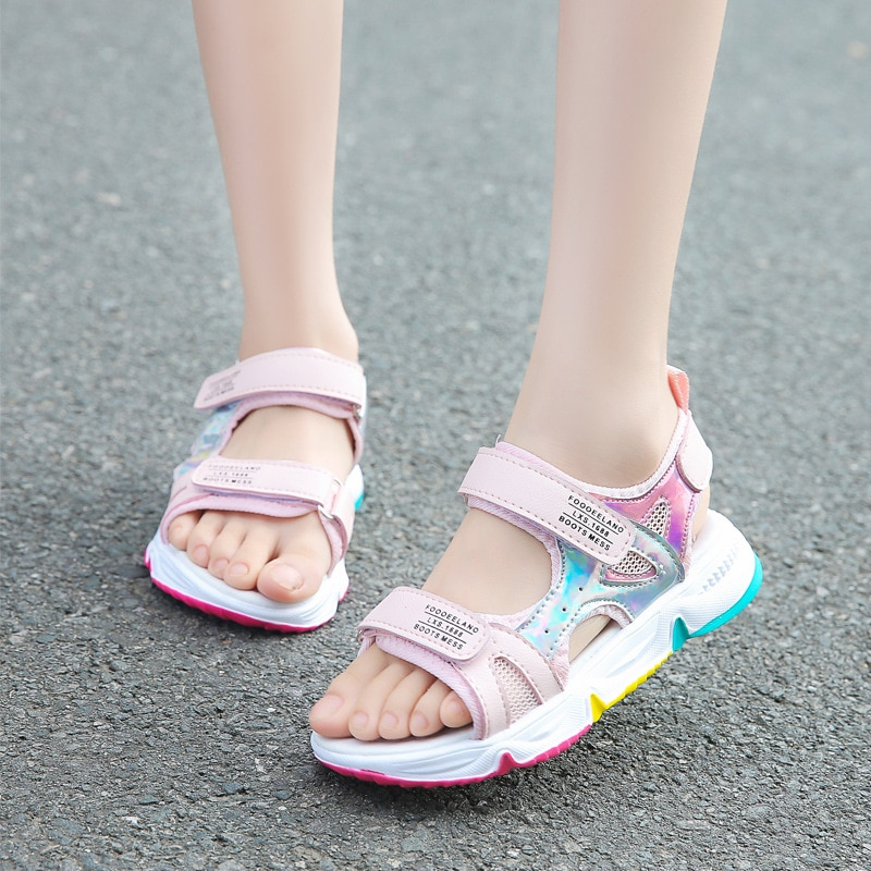 Fashion Girls Sandals Rainbow Sole Children's Beach Shoes 2021 New Summer Kids Sandals For Girls Princess Leather Casual Shoes|Sandals| 2