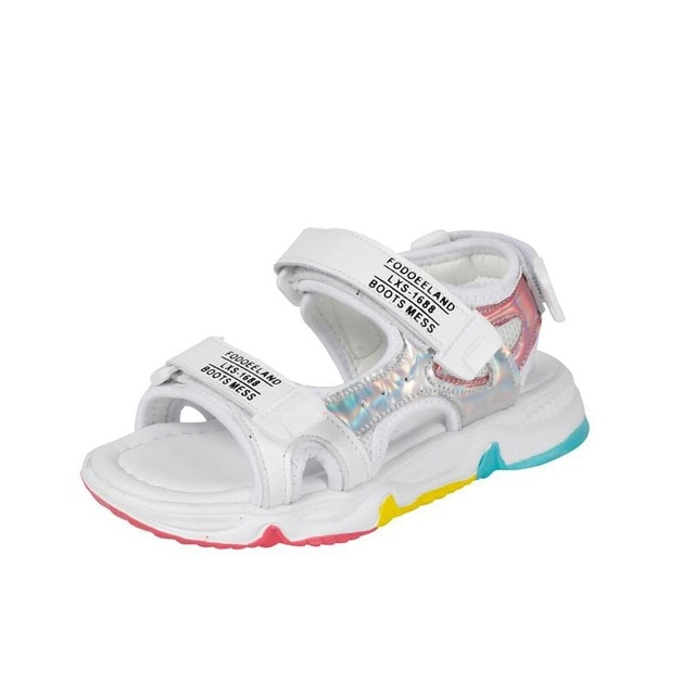 Fashion Girls Sandals Rainbow Sole Children's Beach Shoes 2021 New Summer Kids Sandals For Girls Princess Leather Casual Shoes|Sandals| – white 8