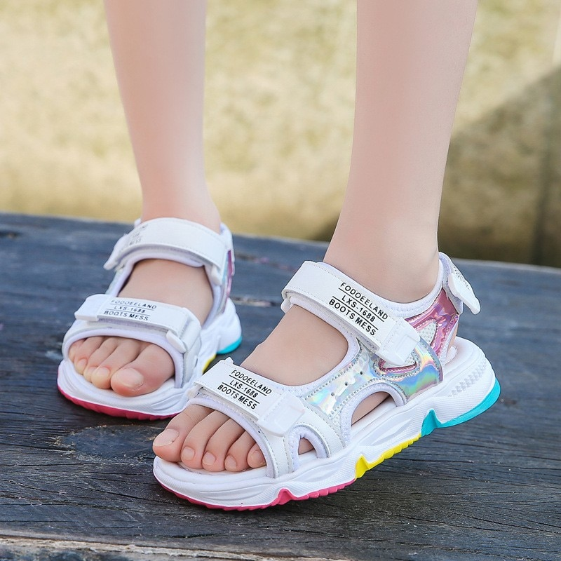 Fashion Girls Sandals Rainbow Sole Children's Beach Shoes 2021 New Summer Kids Sandals For Girls Princess Leather Casual Shoes|Sandals| 3