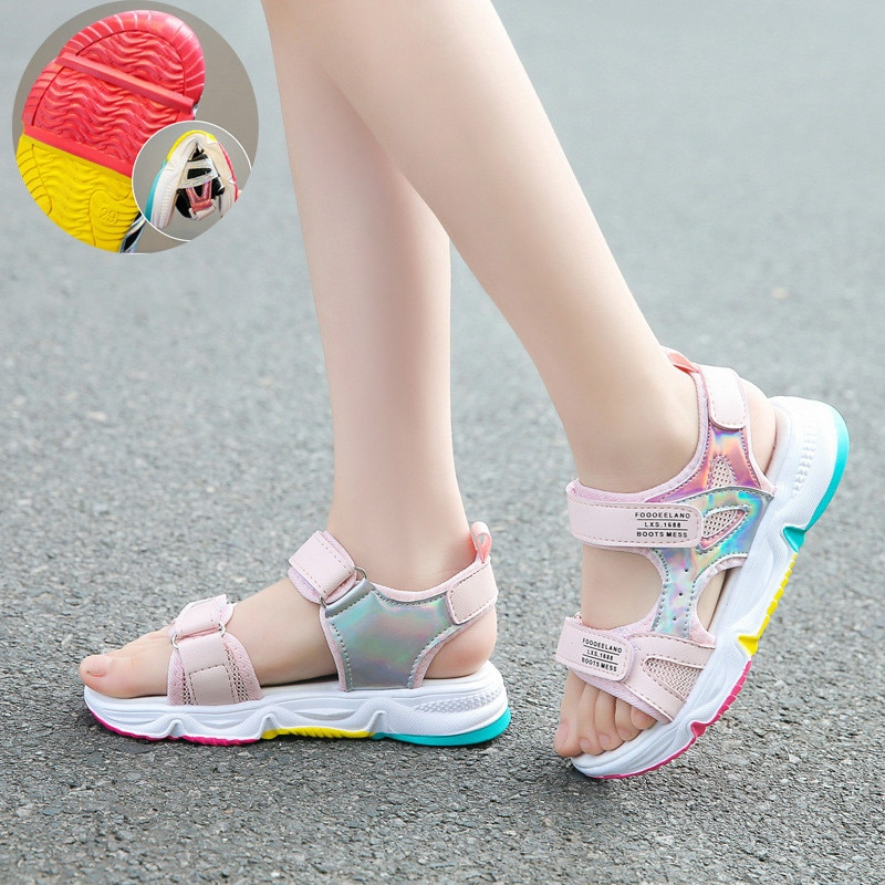 Fashion Girls Sandals Rainbow Sole Children's Beach Shoes 2021 New Summer Kids Sandals For Girls Princess Leather Casual Shoes|Sandals| 4
