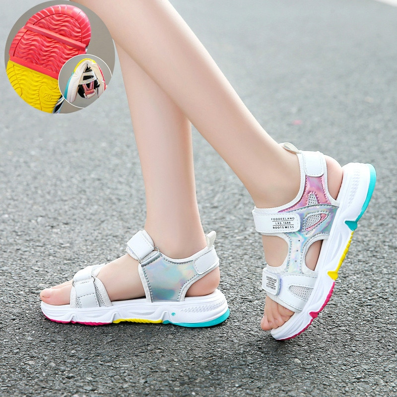 Fashion Girls Sandals Rainbow Sole Children's Beach Shoes 2021 New Summer Kids Sandals For Girls Princess Leather Casual Shoes|Sandals| 5