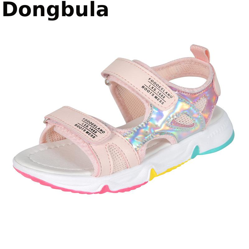 Fashion Girls Sandals Rainbow Sole Children's Beach Shoes 2021 New Summer Kids Sandals For Girls Princess Leather Casual Shoes|Sandals| 6