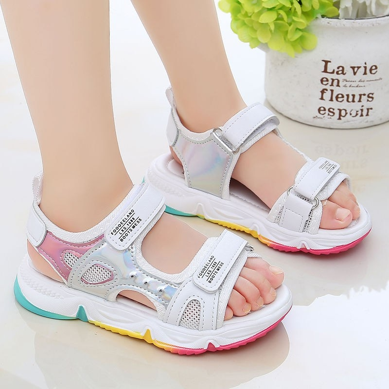 Fashion Girls Sandals Rainbow Sole Children's Beach Shoes 2021 New Summer Kids Sandals For Girls Princess Leather Casual Shoes|Sandals| 1