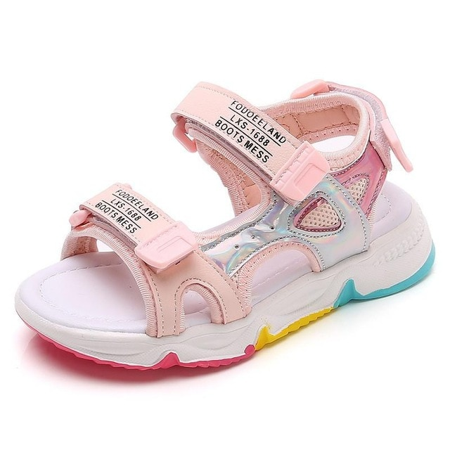 Fashion Girls Sandals Rainbow Sole Children's Beach Shoes 2021 New Summer Kids Sandals For Girls Princess Leather Casual Shoes|Sandals| – pink 7