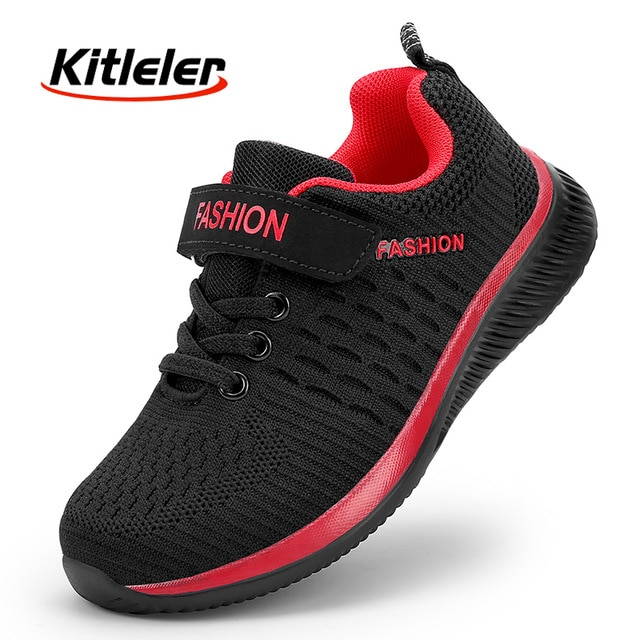 Fashion Kids Sneakers Summer Breathable Running Shoes Boy Outdoor Non slip Casual Sport Tennis Shoes for Girls Big Children Size|Running Shoes| – Black Red 8