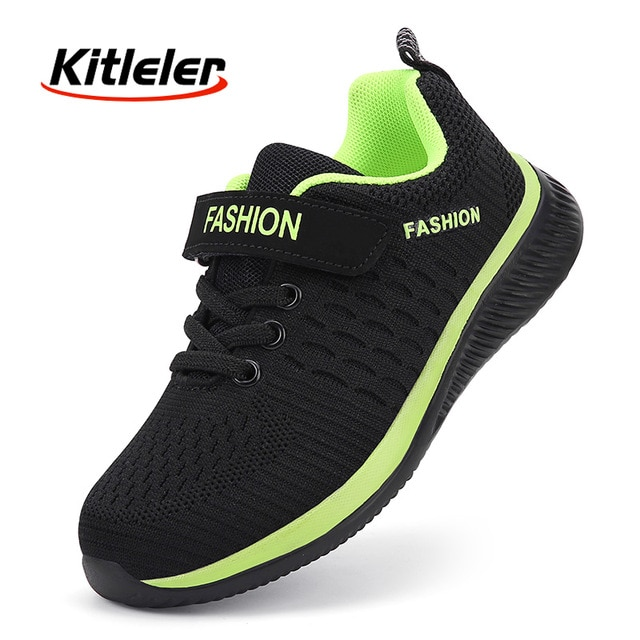 Fashion Kids Sneakers Summer Breathable Running Shoes Boy Outdoor Non slip Casual Sport Tennis Shoes for Girls Big Children Size|Running Shoes| – Black Green 7