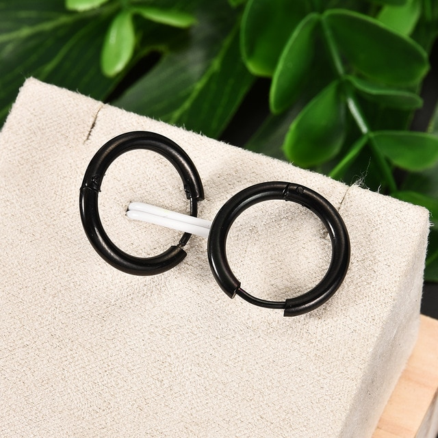 Fashion Women Men Punk Gothic Stainless Steel Simple Round Stud Earrings Lover 3 Colors 3 Size Earring Jewelry|earings fashion jewelry|earrings jewelryround stud earrings – black 8