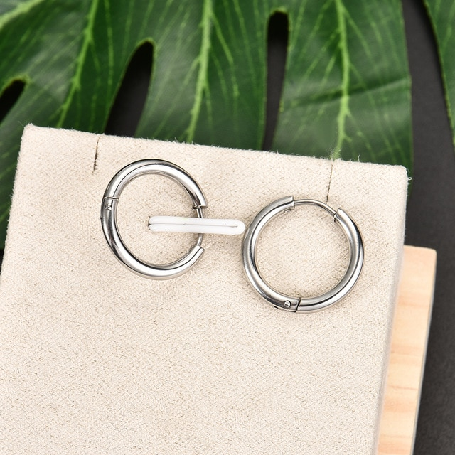 Fashion Women Men Punk Gothic Stainless Steel Simple Round Stud Earrings Lover 3 Colors 3 Size Earring Jewelry|earings fashion jewelry|earrings jewelryround stud earrings – silver 9