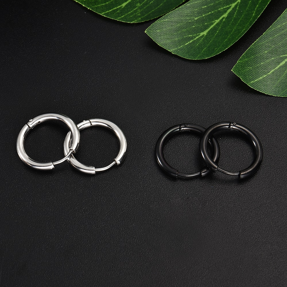 Fashion Women Men Punk Gothic Stainless Steel Simple Round Stud Earrings Lover 3 Colors 3 Size Earring Jewelry|earings fashion jewelry|earrings jewelryround stud earrings 4