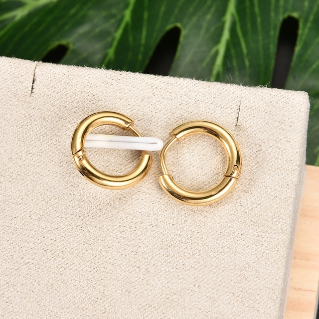 Fashion Women Men Punk Gothic Stainless Steel Simple Round Stud Earrings Lover 3 Colors 3 Size Earring Jewelry|earings fashion jewelry|earrings jewelryround stud earrings – gold 7