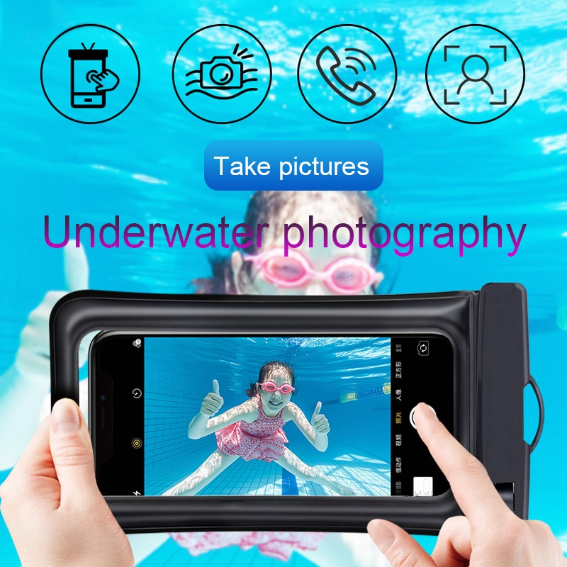 Floating Airbag Waterproof Swim Bag Phone Case For iphone 11 Pro Max Samsung Xiaomi mi Note 9 Pro Redmi Huawei P30 20 Lite Cover Phone Pouches  3